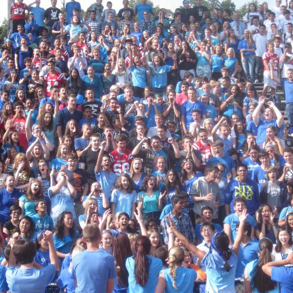 Sophomores in blue showing some class spirit