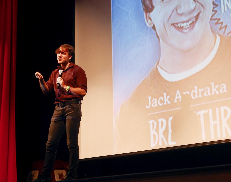 Jack Andraka speaking to students