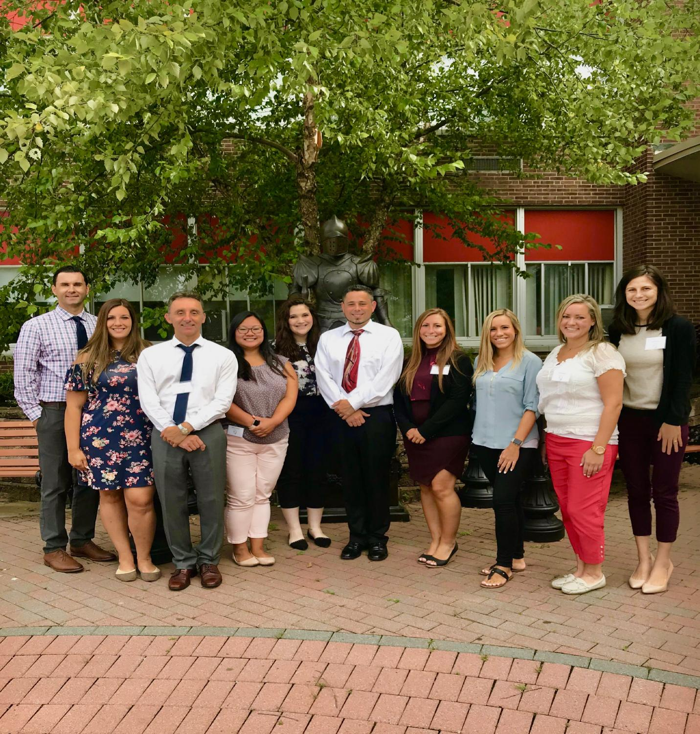 New teachers from left to right: Mr. Romano, Ms. Zirkel, Mr. Chapel, Ms. Rinaldi, Ms. Weisz, Mr. Livigne, Ms. Perry, Ms. Fleming, Ms. Carlson