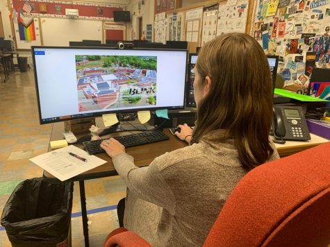"Mrs. Burgin works on the cover of the 2020-2021 yearbook, titled ""Don"